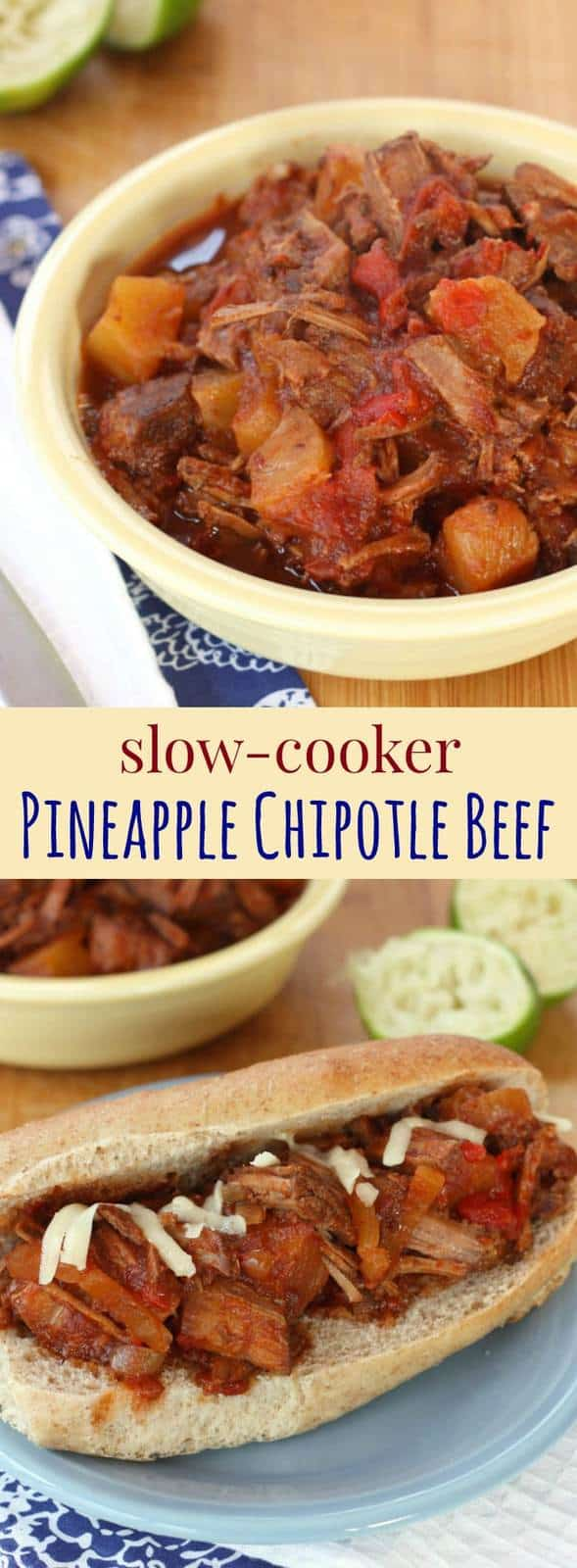 Slow Cooker Pineapple Chipotle Beef - a crock pot recipe for sweet and spicy pulled beef for sandwiches, salads, tacos and more.