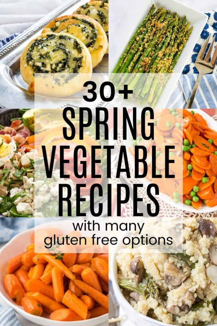 collage of pictures of spinach pinwheels, parmesan crusted asparagus, spinach salad, peas and carrots, roasted carrots, and asparagus mushroom quinoa