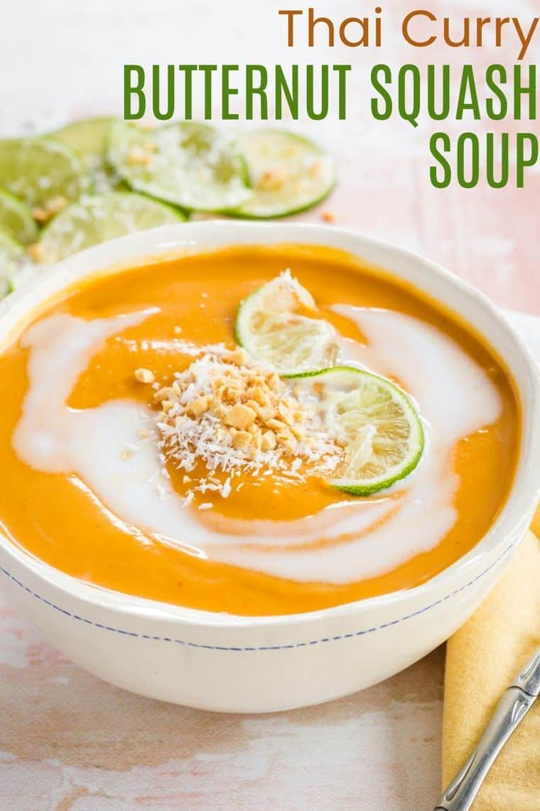 Thai Curry Butternut Squash Soup Recipe image with title