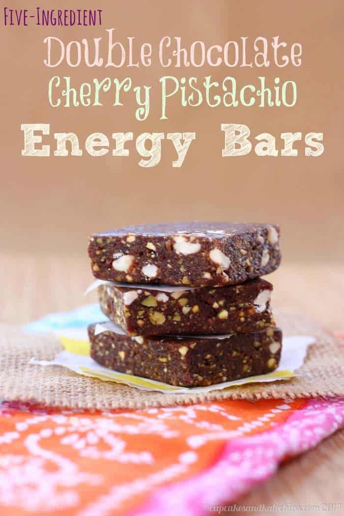 Five-Ingredient Double Chocolate Cherry Pistachio Energy Bars {copycat Lara Bars}   cupcakesandkalechips.com   #glutenfree #vegan #snack