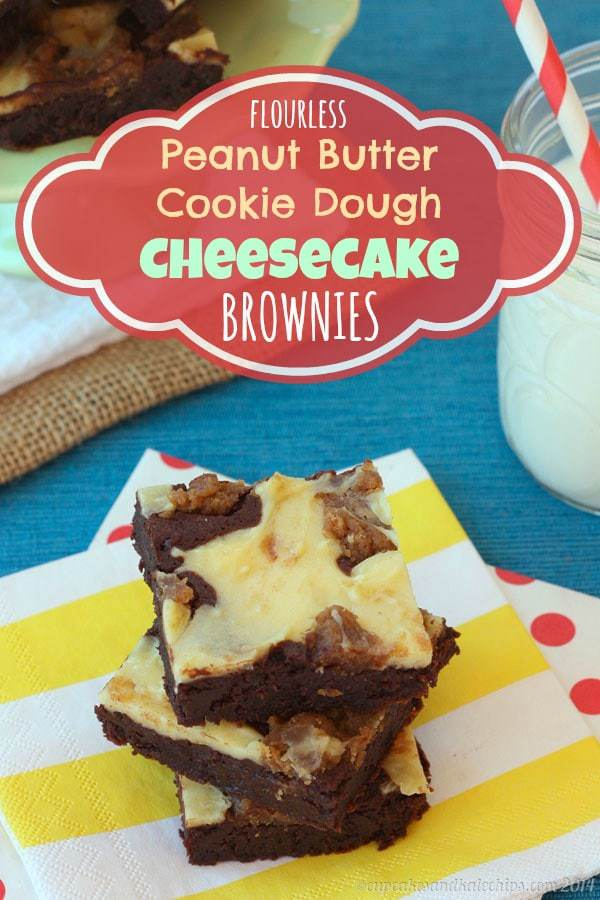 Flourless Peanut Butter Cookie Dough Cheesecake Brownies | cupcakesandkalechips.com | #glutenfree #dessert #chocolate