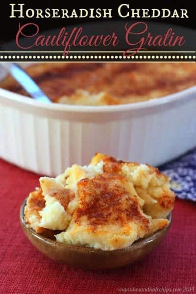 Horseradish Cheddar Cauliflower Gratin - a cheesy vegetable side dish with a little kick that's light and healthy for a busy weeknight or a holiday meal. Gluten free and low carb. | cupcakesandkalechips.com
