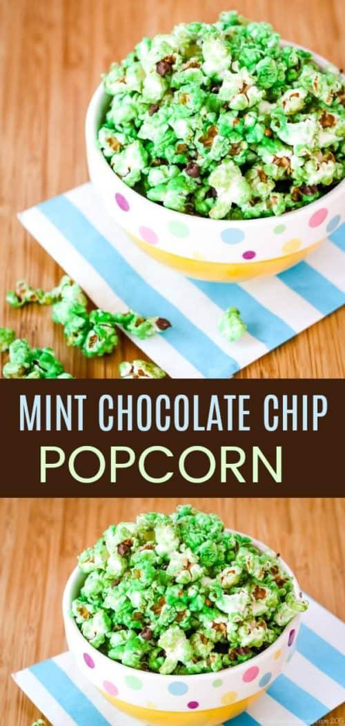 Mint Chocolate Chip Popcorn Collage