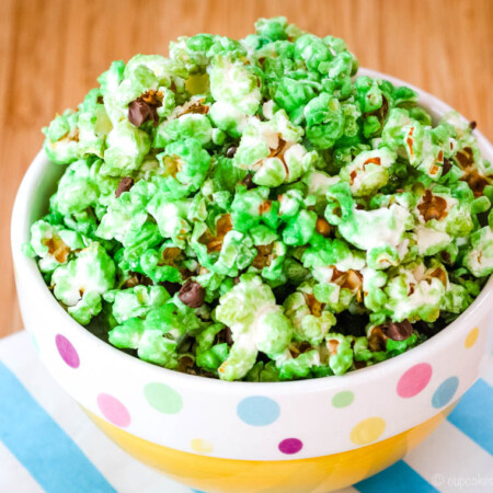 Mint Chocolate Chip Popcorn in a yellow bowl