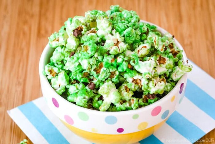 Mint Flavored Popcorn in a yellow bowl