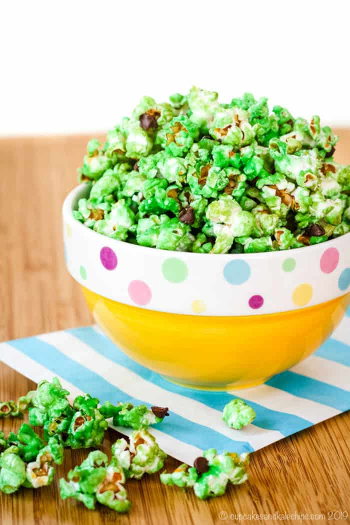 Mint Chocolate Chip Popcorn in a bowl