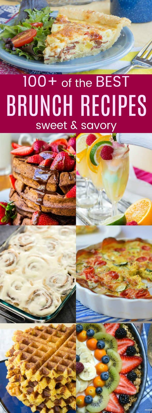 Over 100 of the Best Brunch Recipes with sweet and savory dishes, including pancakes, waffles, muffins, scones, eggs, casseroles, cinnamon rolls, and more. #cupcakesandkalechips #brunch #brunchrecipes #breakfast #easter #easterbrunch