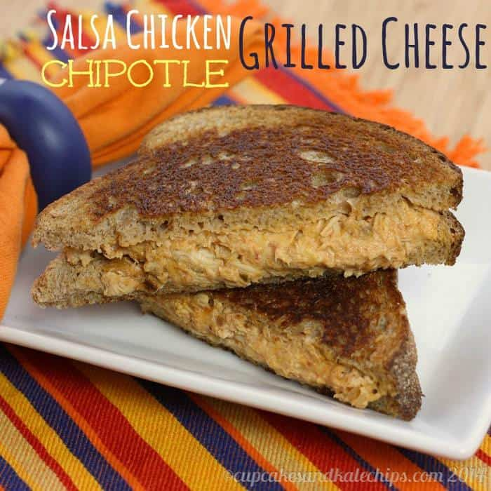 Salsa Chicken Chipotle Grilled Cheese Sandwich | cupcakesandkalechips.com | grilled cheese | Cinco de Mayo | grilledcheesemonth