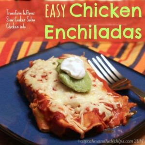 Slow Cooker Easy Chicken Enchiladas are a gluten-free Cinco de Mayo food idea, made from leftovers! | CupcakesAndKaleChips.com