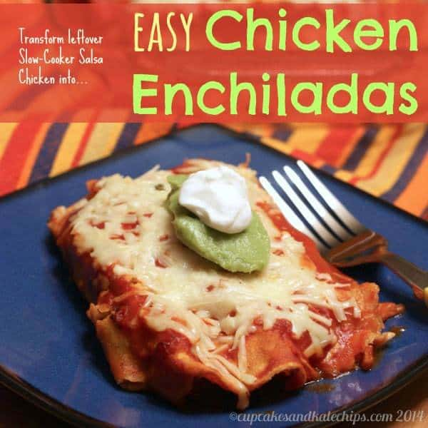 Easy Chicken Enchiladas {made from slow-cooker salsa chicken} | cupcakesandkalechips.com | #glutenfree #weekdaysupper