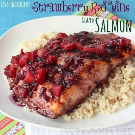 Five-Ingredient Strawberry Red Wine Glazed Salmon for #SundaySupper