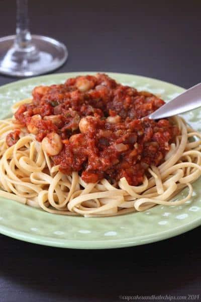 Vegan Vegetable Tomato Sauce with Chickpeas   cupcakesandkalechips.com   #glutenfree #vegetables #pasta #vegetarian