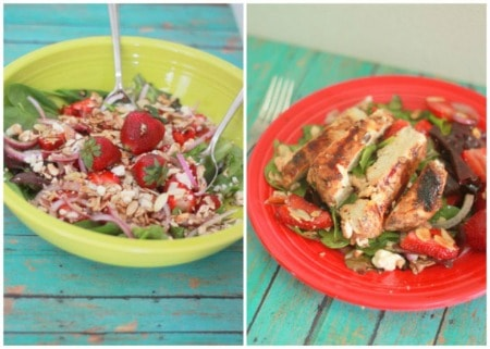 A collage of two versions of strawberry feta salad with and without chicken