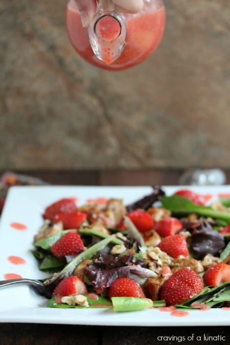Chicken and Strawberry Salad with Strawberry Dressing and Walnuts on a square plate