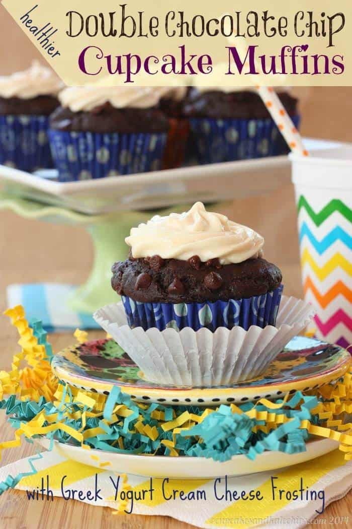 {Healthier} Whole Wheat Double Chocolate Chip Cupcake Muffins with Greek Yogurt Cream Cheese Frosting   cupcakesandkalechips.com   #breakfast #snack #dessert #cupcakes