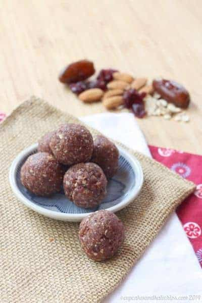 Cranberry Almond Energy Balls - just one of the recipes for healthy no-bake snacks kids love to find in their school lunch or as an after school snack.
