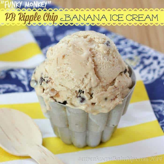 """Funky Monkey"" PB Ripple Chip Banana Ice Cream - it's easy to make the best ice cream ever for peanut butter and chocolate lovers! 
