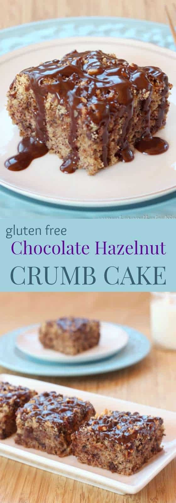 Gluten-Free Chocolate Hazelnut Crumb Cake - for breakfast or dessert, this simple gluten free coffee cake recipe gets even better when you drizzle it with Nutella glaze | cupcakesandkalechips.com