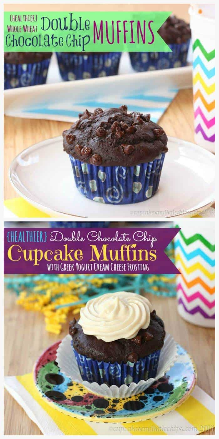 {Healthier} Whole Wheat Double Chocolate Chip Muffins (or turn them into cupcake muffins with Greek Yogurt Cream Cheese Frosting   cupcakesandkalechips.com   #breakfast #snack #dessert #cupcakes
