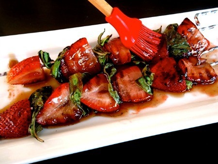 Grilled Strawberry Basil kebabs
