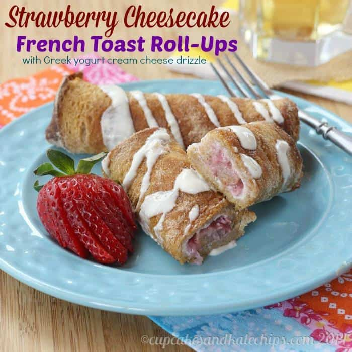 Strawberry Cheesecake French Toast Roll-Ups | cupcakesandkalechips.com | #breakfast #brunch #strawberries