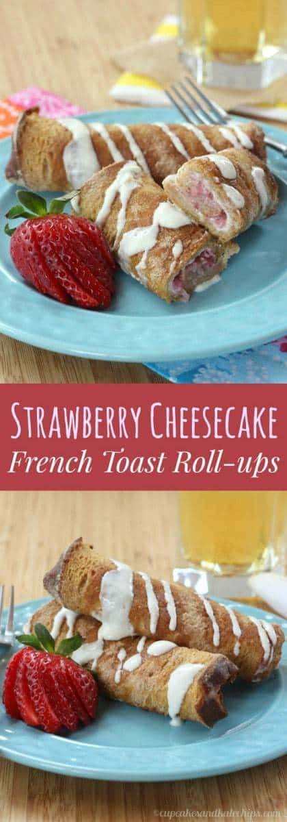 Strawberry Cheesecake French Toast Roll-Ups with Greek Yogurt Cream Cheese Drizzle - a simple but special breakfast or brunch recipe | cupcakesandkalechips.com