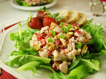 Strawberry Chicken Salad on a bed of leaf lettuce