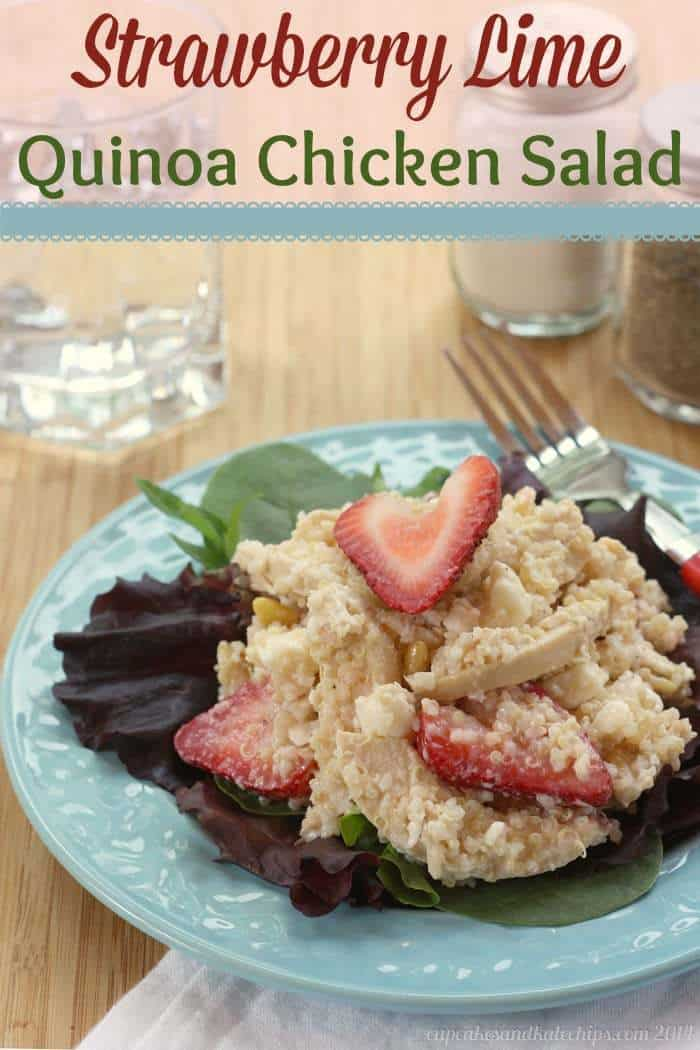 Strawberry Lime Quinoa Chicken Salad with Feta Cheese & PIne Nuts - healthy and delicious! | cupcakesandkalechips.com | #glutenfree #strawberries