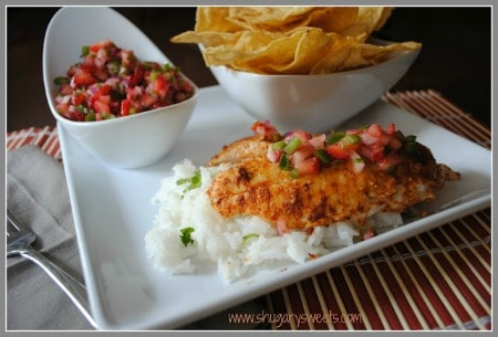 Tilapia with Strawberry Salsa over white rice