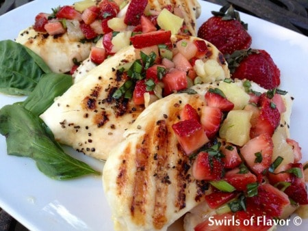 Grilled Chicken Breasts topped with strawberry salsa