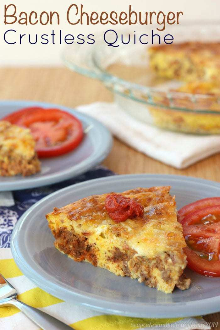 Bacon Cheeseburger Crustless Quiche - amazing for breakfast, brunch or brinner! | cupcakesandkalechips.com | #eggs #glutenfree #beef