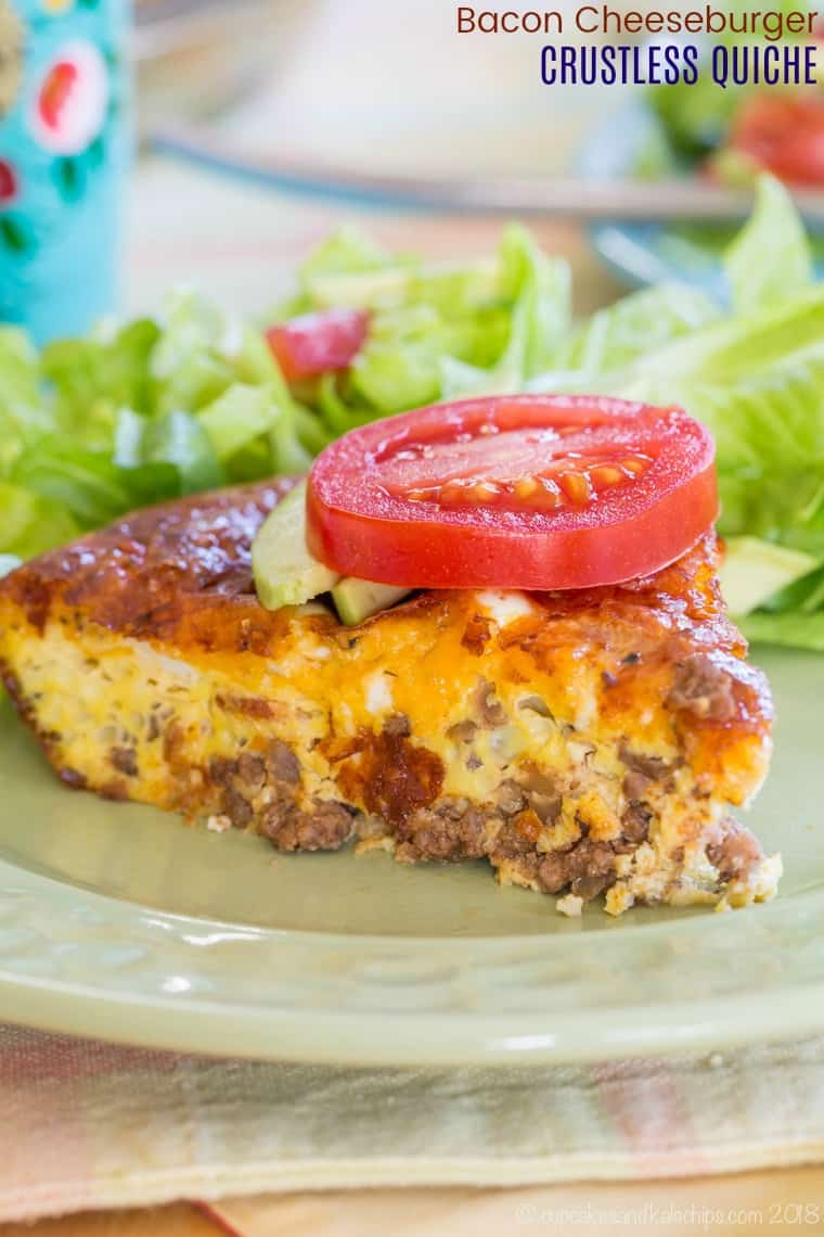 Bacon Cheeseburger Crustless Quiche Recipe - low carb and gluten free brunch or breakfast or dinner