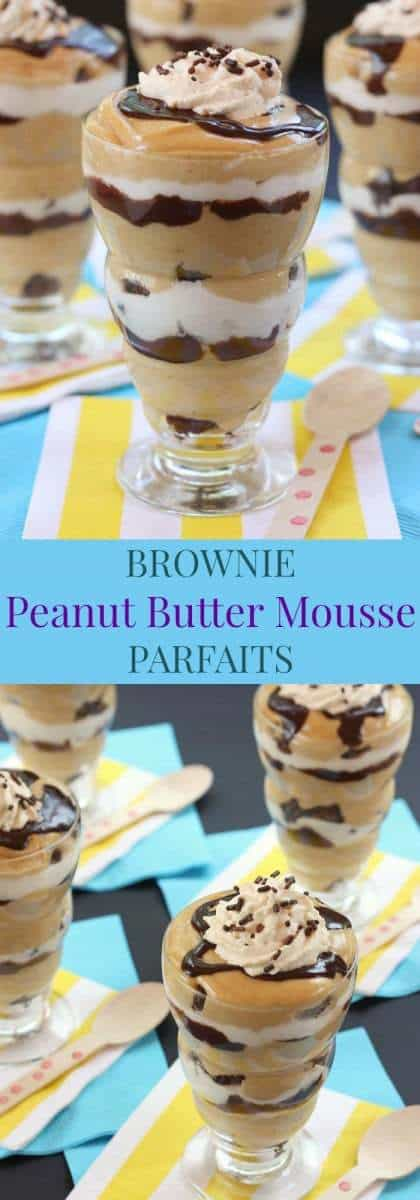 Brownie Peanut Butter Mousse Parfaits - layers of chocolate and peanut butter! One of the best desserts I've made! Plus a gluten free option! | cupcakesandkalechips.com