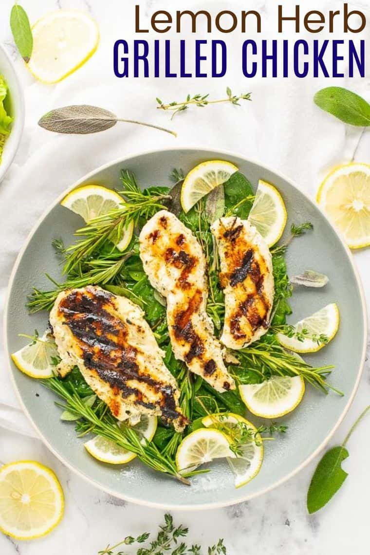 Lemon Herb Grilled Chicken Recipe Image with title