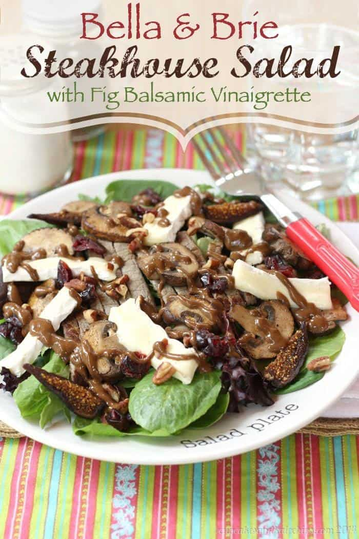 Bella & Brie Steakhouse Salad with Fig Balsamic Vinaigrette - our new favorite!   cupcakesandkalechips.com   #glutenfree #beef #steak