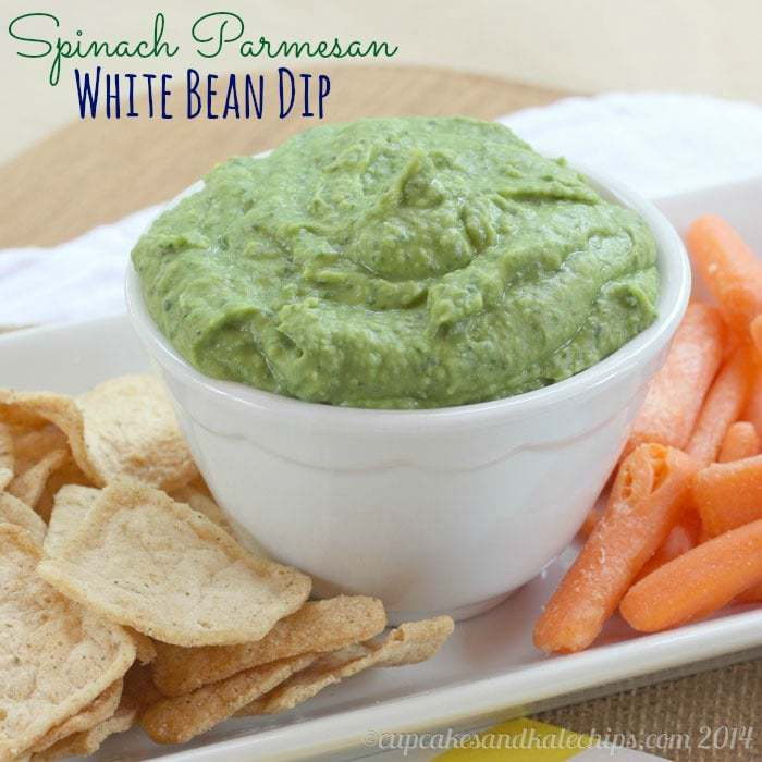 Spinach Parmesan White Bean Dip with #PoppedWheatThins #spon - a simple five-ingredient appetizer or snack with veggies, protein and cheese from cupcakesandkalechips.com | #glutenfree #vegetarian