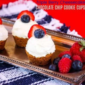 Triple Berry Chocolate Chip Cookie Cups square featured image with title