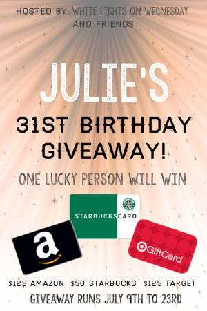 Julie's Birthday $300 Gift Card Giveaway - one winner will receive $125 to Target, $125 to Amazon, and $50 to Starbucks!