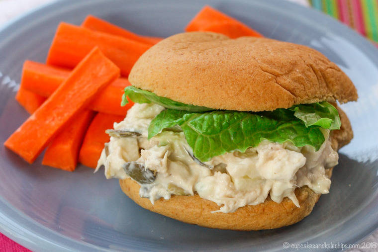 Apple Blue Cheese Chicken Salad Sandwich with carrots for lunch