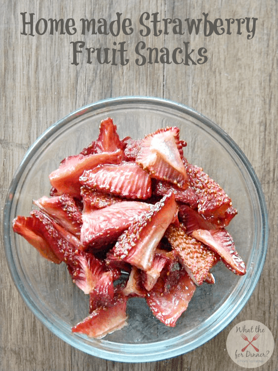 Top view of Homemade Strawberry Fruit Snacks in a bowl