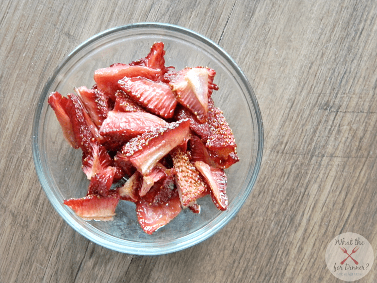 Top view of a bowl of Homemade Strawberry Fruit Snacks