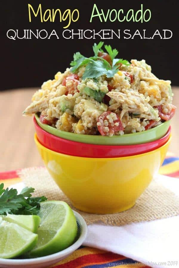 Mango Avocado Quinoa Chicken Salad - a cool and easy lunch or #WeekdaySupper   cupcakesandkalechips.com   #ChooseDreams #glutenfree
