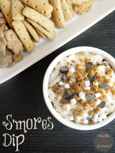 Top view of Smores Dip in a bowl with cookies for dipping