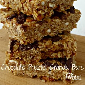 A stack of Chocolate Pretzel Granola Bars from Juggling Act Mama