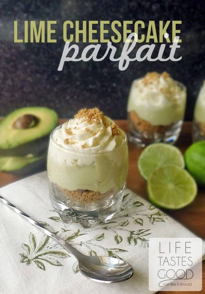 No-Bake Lime Cheesecake Parfaits with a secret ingredient! | Guest Post from Life Tastes Good on cupcakesandkalechips.com | #dessert #pie #nobake