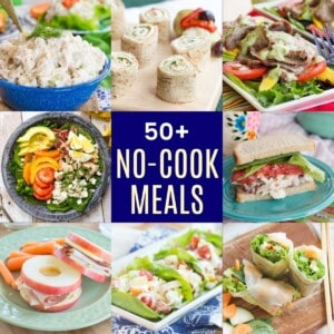 collage No Cook Meals for Lunch or Dinner with chicken salad in a bowl, chicken pinwheels, salad with grilled steak, chicken salad sandwich, shrimp spring rolls, lettuce wraps, apple sandwich, and spinach salad