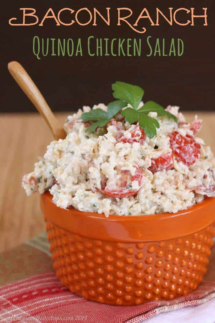 Bacon Ranch Quinoa Chicken Salad - comfort food flavors in an easy, make-ahead recipe | cupcakesandkalechips.com | #glutenfree #greekyogurt