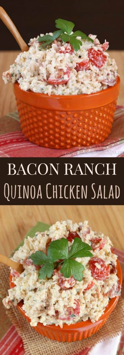 Bacon Ranch Quinoa Chicken Salad - comfort food flavors in an easy, make-ahead recipe made healthier with Greek yogurt | cupcakesandkalechips.com | gluten free