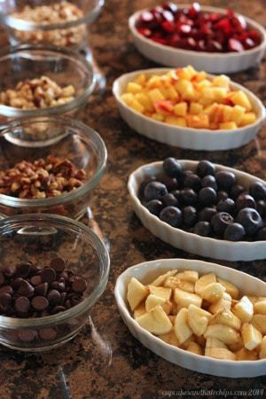 Fruit and nut toppings for Freezer Oatmeal Cups