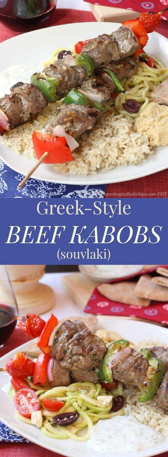 Greek-Style Beef Kabobs - fire up the gill to enjoy this easy recipe for beef souvlaki! Gluten free, low carb, and paleo. | cupcakesandkalechips.com